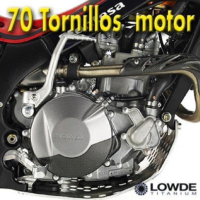 Kit 70 Tornillos MOTOR Montesa/Honda 4 RT - Kit 70 Tornillos MOTOR Montesa/Honda 4 RT. Mecanizados en aleación de titanio gr. 5 (6Al4V). Peso de los 70 tornillos: 338 gramos. Alta resistencia mecánica (similar al acero de calidad 10,9), mitad de peso que el acero.