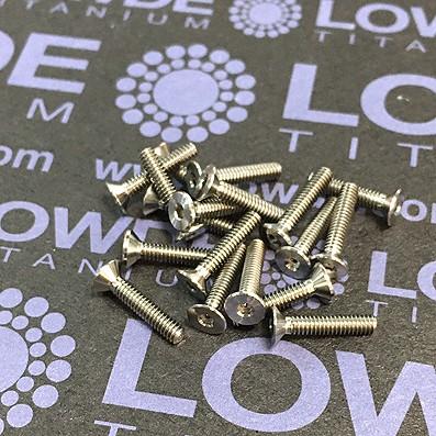 Avellanado DIN 7991 M2x10 mm. de titanio gr. 5 (6Al4V) - 1 Tornillo avellanado DIN 7991 M2x0,40x10 mm. de titanio gr. 5 (6Al4V)