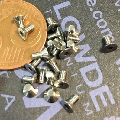 Avellanado DIN 7991 M2x4 mm. de titanio gr. 5 (6Al4V) - Avellanado DIN 7991 M2x0,40x4 mm. de titanio gr. 5 (6Al4V)