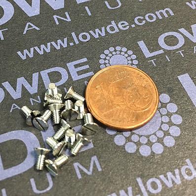 Avellanado DIN 963 M2x4 mm. de titanio gr. 5 (6Al4V) - Avellanado DIN 963 M2x0,40x4 mm. de titanio gr. 5 (6Al4V)