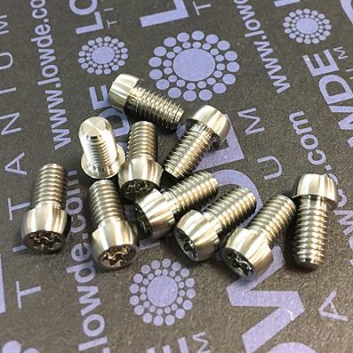 Boton M5x9 mm. Torx T25 de titanio gr. 5 (6Al4V). Diámetro cabeza: 7 mm.
