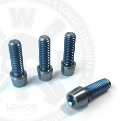 Kit 4 tornillos M5x15 llave torx de titanio gr. 5. Cabeza estrecha (Ø7) AZUL