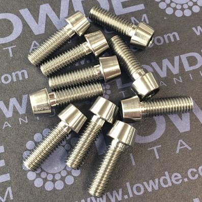 Tornillo CÓNICO M5x15 mm. de titanio grado 5 (6Al4V) cabeza Ø8