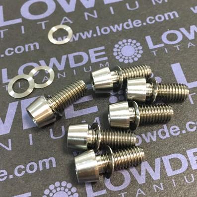 Tornillo CÓNICO M5x12 mm. de titanio grado 5 (6Al4V) cabeza Ø8 - Tornillo CÓNICO M5x12 mm. de titanio grado 5 (6Al4V) cabeza  de diámetro 8 mm.
