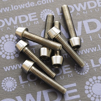 CÓNICO M5x25 titanio gr. 5 (6Al4V) - 1 Tornillo CÓNICO M5x25 mm. de titanio gr. 5 (6Al4V)