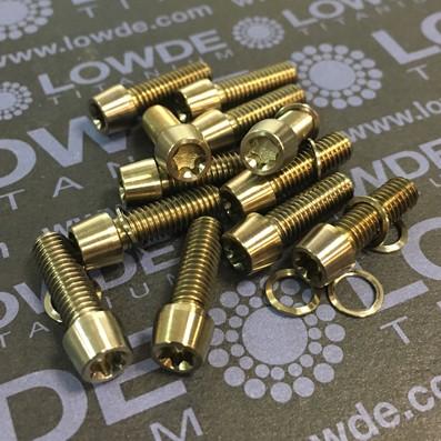 Cónico M5x15 mm. de titanio gr. 5 (6Al4V). Cabeza estrecha (Ø7 mm.) - Cónico M5x15 mm. de titanio gr. 5 (6Al4V). Cabeza estrecha (Ø7 mm.)