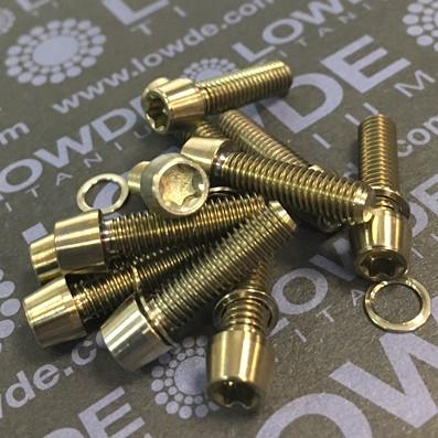 Cónico M5x18 mm. de titanio gr. 5 (6Al4V). Cabeza estrecha (Ø7 mm.) - Cónico M5x18 mm. de titanio gr. 5 (6Al4V). Cabeza estrecha (Ø7 mm.)