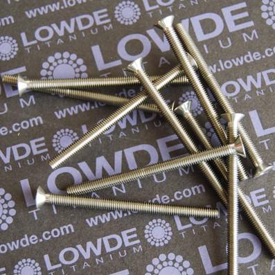 Avellanado DIN 7991 M4x60 mm. de titanio gr. 5 (6Al4V) - Avellanado DIN 7991 M4x60 mm. de titanio gr. 5 (6Al4V). Totalmente roscado.