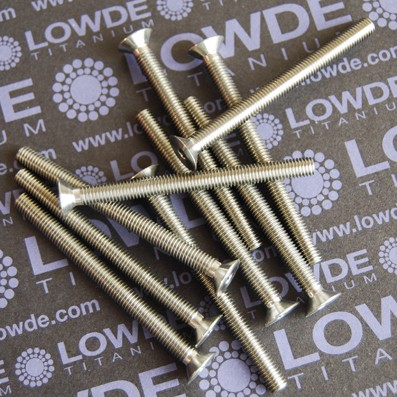 Avellanado DIN 7991 M5x60 mm. de titanio gr. 5 (6Al4V) - Avellanado DIN 7991 M5x60 mm. de titanio gr. 5 (6Al4V). Totalmente roscado.