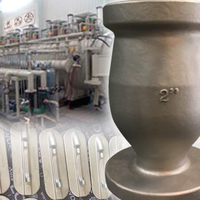 FUNDICIÓN. CENTRIFUGADO Y PRESIÓN ISOSTÁTICA (HIP). - Fabricación de piezas de titanio y algunas de sus aleaciones mediante fundición. Sistema de prensado isostático por centrifugado. Mostramos la fabricación de cuerpos de válvula de distintos tamaños (hasta DN100) y también piezas para uso aeroespacial de 21 gramos de peso. Geometrías difíciles y ahorro de material son algunas de las ventajas este método de fabricación. En piezas de pequeño tamaño ofrecemos el anodizado (AMS 2488 Tipo II) y también recubrimiento de grasa sólida (MoS2). Molikote® 106 ó Everlube® 620C son algunos de los productos de uso habitual en aeronáutica que utilizamos en este proceso.
