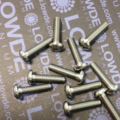 Boton ISO 7380 M5x20 mm. de titanio gr. 5 (6Al4V). - 1 tornillo de boton ISO 7380 M5x20 mm. de titanio gr. 5 (6Al4V). Diámetro cabeza: 9,5 mm.