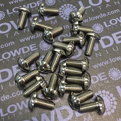 Boton ISO 7380 M6x14 mm. de titanio gr. 5 (6Al4V). Diámetro cabeza: 12,5 mm.