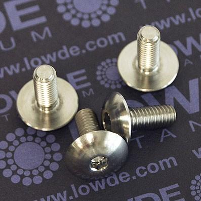 Boton ISO 7380 M6x15 mm. de titanio gr. 5 (6Al4V). Diámetro cabeza: 16 mm. - 1 Tornillo de boton ISO 7380 M6x15 mm. de titanio gr. 5 (6Al4V). Diámetro cabeza: 16 mm.