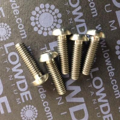 Boton ISO 7380 M6x20 mm. de titanio gr. 5 (6Al4V). Diámetro cabeza: 10 mm.