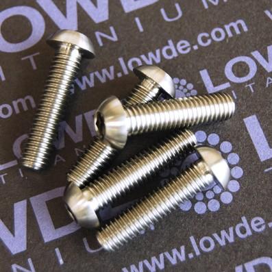 Boton ISO 7380 M6x25 mm. de titanio gr. 5 (6Al4V). Diámetro cabeza: 10 mm.