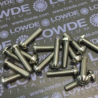 Boton ISO 7380 M6x25 mm. de titanio gr. 5 (6Al4V). Diámetro cabeza: 12,5 mm.