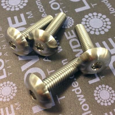 Boton ISO 7380 M6x25mm. de titanio gr. 5 (6Al4V). Diámetro cabeza: 16 mm.