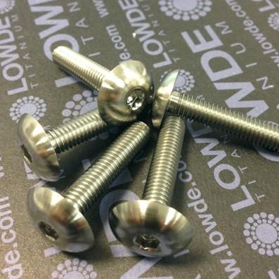 Boton ISO 7380 M6x30mm. de titanio gr. 5 (6Al4V). Diámetro cabeza: 16 mm.