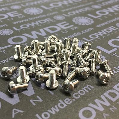 ISO 7380 Torx T10 M3x6 mm. de titanio gr. 5 (6Al4V) - ISO 7380 Torx T10 M3x6 mm. de titanio gr. 5 (6Al4V)