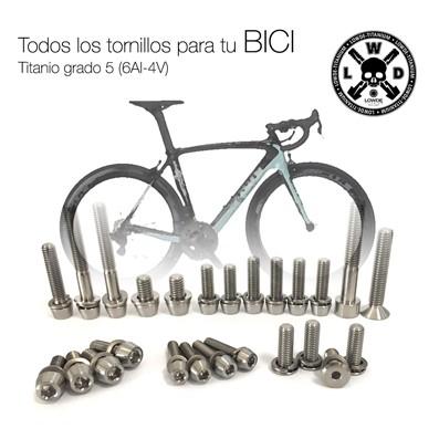 Kit a medida para tu bicicleta de CARRETERA. 25 Tornillos de Titanio gr. 5 (6Al-4V) - TENDRÁS QUE AYUDARNOS ENVIANDO LISTADO DE LOS 25 Tornillos de Titanio grado 5 (6Al-4V) PARA TU BICICLETA. ANODIZADO a elegir sin coste adicional. CAMISETA GRATIS.