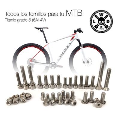 Kit a medida para tu bicicleta de MONTAÑA. 35 Tornillos de Titanio gR. 5 (6Al-4V) - Kit a medida para tu bicicleta de montaña. 35 Tornillos de Titanio grado 5 (6Al-4V). ANODIZADO a elegir sin coste adicional. REGALO DE UNA PULSERA CICLISTA.