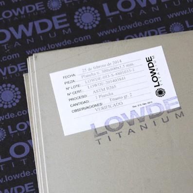 Plancha de Titanio grado 2 (puro) ASTM B265. 500x333x1,5 mm. - Plancha de TITANIO gr. 2 ASTM B265. Tamaño: 500x333 mm. Grosor: 1,5 mm. Peso: 1,13 kgrs.