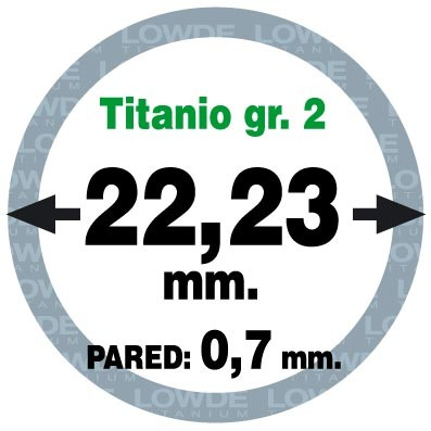 Tubo 1 metro de TITANIO gr. 2 ASTM B338 en diámetro 22,23 mm. Grosor pared: 0,7 mm. - Tubo 1 metro de TITANIO gr. 2 ASTM B338 en diámetro 22,23 mm. Grosor pared: 0,7 mm.