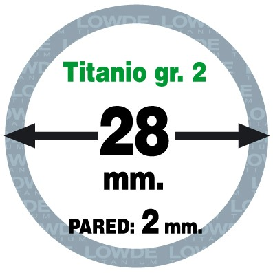 Tubo 1 metro de TITANIO gr. 2 ASTM B338 en diámetro 28 mm. Grosor pared: 2 mm. - Tubo 1 metro de TITANIO gr. 2 ASTM B338 en diámetro 28 mm. Grosor pared: 2 mm.