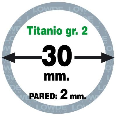Tubo 1 metro de Titanio gr. 2 ASTM B338 Ø 30 mm. Pared: 2 mm.