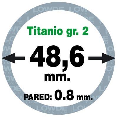 Tubo 1 metro de TITANIO gr. 2 ASTM B338 en diámetro 48,6 mm. Grosor pared: 0,8 mm.