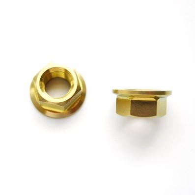 Tuerca DIN 6923 M10x1,25 de titanio gr. 5 (6Al4V). Anodizada oro.
