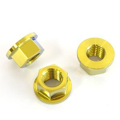 Tuerca DIN 6923 M10x1,50 de titanio gr. 5 (6Al4V). Anodizada oro.