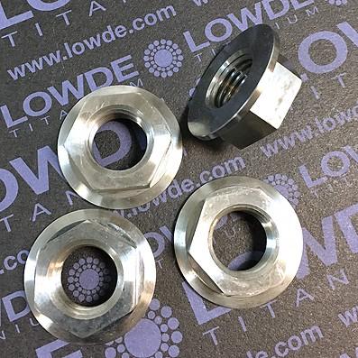 Tuerca DIN 6923 M14x1,50 de titanio gr. 5 (6Al4V). Altura tuerca: 10,5 mm.