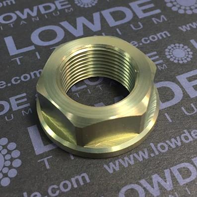 Tuerca con valona DIN 6923 M22x1,50 de titanio gr. 5 (6Al4V) - Tuerca con valona DIN 6923 M22x1,50 de titanio gr. 5 (6Al4V). Altura: 14 mm.